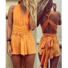 Pre-Fall Online Shopping Haul via @TrendsGal Follow Me At Pinterest/MissyKsCloset ▶️ Sexy Orange Strappy Hollow Out Floral Print Romper