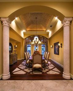 So elegant, love the inlaid tile floor!