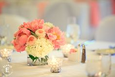 coral and peach flowers, hydrangea, silver beaded decor #peony #gardenroses #fleurtaciousdesigns -Elario Photography