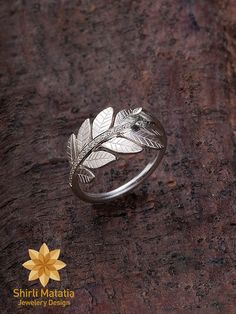 Forest Leaves Silver Ring- engagement ring, wedding ring, woodland, rustic, novelty, twig ring, leaf ring, brown