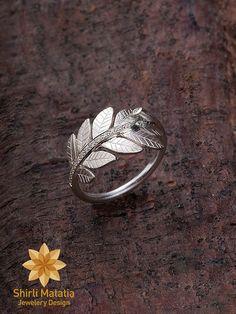 Forêt laisse Silver Ring - bague de fiançailles, bague de mariage, des bois, rustique, nouveauté, anneau de brindille, anneau de feuille, br...