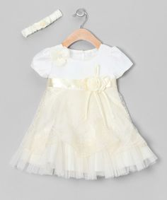 Take a look at this Ivory Floral Sheer Dress & Headband - Toddler & Girls by S Square on #zulily today!