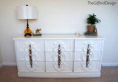 Glossy White 70's Style Dresser