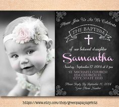 Girl's Baptism Invitation - Christening Invite - Dedication - Church - Godparents - Photo Invite - Printable - Chalkboard - Pink by greenpapayaprints on Etsy Baptism Party, Baby Christening, Baby Party, Baptism Ideas, Fun Baby, Christening Invitations, Pink Invitations, Printable Invitations, Invitation Templates