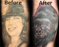 With a cover up tattoo, your ex-wife can become an ape! this is funny as hell!!