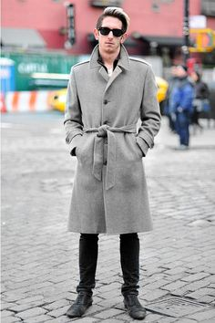 Thomas - (25 - Student) wears Coat by Ysl, T-shirt by Marc Jacobs, Pants by Diesel, Shoes by Zara