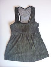 (XS) Mimi Chica Black/Gold Metallic Pleated Crochet Back Tank Top Shirt (In-22)