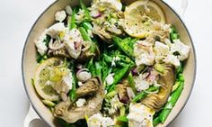 Simple pleasures: artichokes, peas and soft cheese.