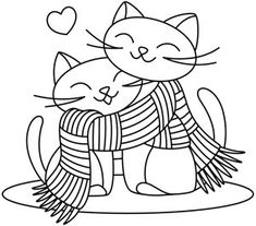 Scarf Kitties from UrbanThreads Embroidery Stitches, Embroidery Patterns, Hand Embroidery, Machine Embroidery, Cat Coloring Page, Colouring Pages, Coloring Books, Cat Quilt, Cat Crafts