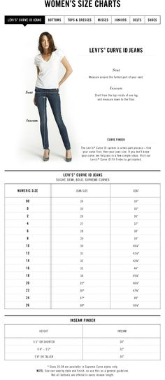 7 Best Sizing Chart for Women39s Jeans images in 2015