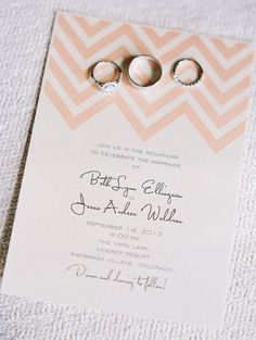 Chevron Wedding Invitation | See the wedding on SMP:  http://www.StyleMePretty.com/2014/03/18/elegant-aspen-wedding-with-boho-flair/  Sarah Joelle Photography