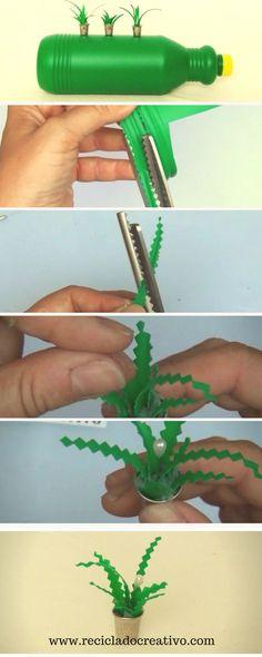 Paso a paso. Cómo hacer miniaturas de plantas con dedales y botellas de plástico