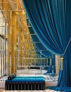 Teal velvet curtains and mirror tiles - beautiful effect. by summer Home Interior, Interior And Exterior, Interior Decorating, Interior Design, Interior Staircase, Luxury Interior, Modern Interior, Decorating Ideas, Design Hotel