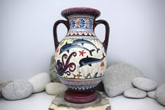 This is a piece of Greek art. An amphora vase of the Minoan Pottery inspired by the Aegean Sea adorned with colourful dolphins (symbol of Harmony), octopus, coral and fish. -MADE IN GREECE- Classical Period, Greek Pottery, Greek History, Fire Clay, Minoan, Greek Art, Ancient Greek, Greece, Octopus