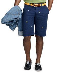 Nautical Embroidery Raw Edge Cotton Twill Bermuda Shorts