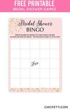 blush and confetti bridal shower bingo