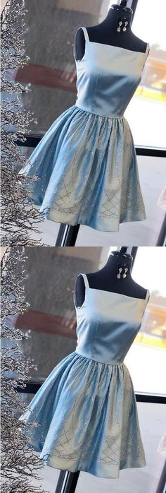 modest blue satin short prom dresses, simple square neck party dresses with pleats, gorgeous a line evening gowns with beading #promdress #shortpromdress #shortpromdresses