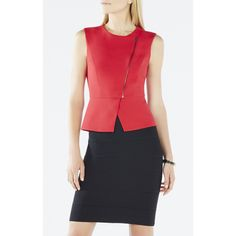 BCBGMAXAZRIA Deisi Asymmetrical Zip-Up Peplum Top ($198) ❤ liked on Polyvore featuring tops, burnt poppy, fitted tops, sleeveless tops, pattern tops, red top e zip top