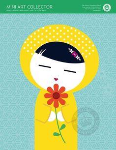 MINI ART COLLECTOR - Kokeshi Sweetheart (Hana) 8x10 Digital Sheet - edition 14. $3.00, via Etsy.