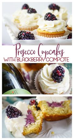 #ad : msg21+ Prosecco Cupcakes with Blackberry Compote will wow your taste buds! Prosecco makes this delectable cupcake sophisticated enough for any dinner party. #RiondoProsecco #ItalianForsummer