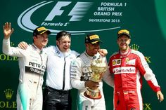 Lewis-hamilton wins at Silverstone Nico 2nd and Seb 3rd