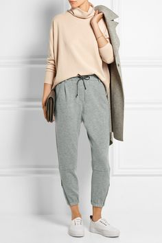 Brunello Cucinelli Wool and cashmere-blend track pants Womens Fashion For Work, Look Fashion, Winter Fashion, Cashmere Pants, Cashmere Turtleneck, Turtleneck Fashion, Athleisure, Together Fashion, Sport Outfit