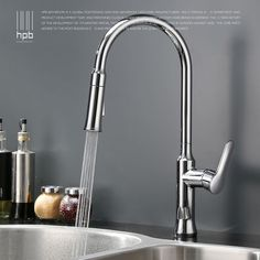 Brass Chrome Pull Out Kitchen Mixer Tap Spray Rotary Sink Faucet Deck Mounted Hot And Cold Water Single Handle Pb-free HP4110