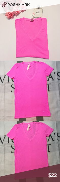VS PINK V- Neck Tee - Medium NWT Victoria's Secret Neon Pink T-Shirt.           •V- Neck with short sleeves.                          •Cute PINK embroidered dog at Bottom left side of tee.                                                        Can be used as sleepwear or a regular everyday tee paired with your favorite Jeans!          🎀Brand New with Tags!                                         🎀Check out my Closet for More VICTORIAS SECRET & PINK Items…