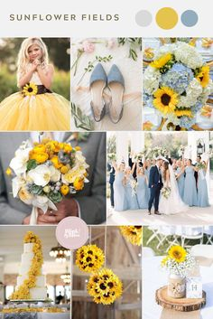 10 Summer Wedding Color Palettes Rustic yellow sunflowers and dusty blue wedding colors for a spring or summer wedding.Rustic yellow sunflowers and dusty blue wedding colors for a spring or summer wedding. Perfect Wedding, Dream Wedding, Summer Wedding Colors, Wedding Yellow, Spring Wedding Themes, Summer Weddings, Sunflower Wedding Themes, Colors For Weddings, Bright Color Wedding
