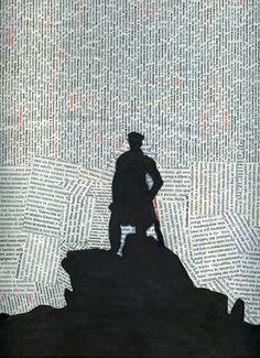 newspaper collage - silhouette  Inspired by Caspar David Friedrich