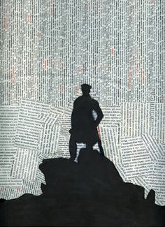 newspaper collage - silhouette  Inspired by Caspar David Friedrich