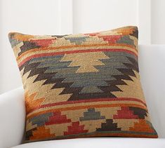 "Alder Kilim Pillow Cover - 24"" #potterybarn_Made of 71% wool and 29% cotton. Zipper closure. Accommodates a 24"" insert; sold separately_$60"