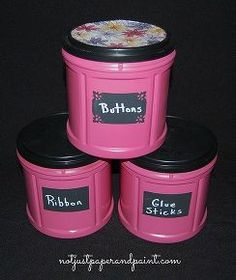coffee canister storage, cleaning tips, craft rooms, repurposing upcycling, For cute and cheap storage in your craft room gather these plastic coffee canisters and turn them into functional containers in just a few steps