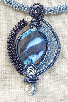 Blue Banded Agate, Wire Weave Necklace - Vanessa Maile Jewellery