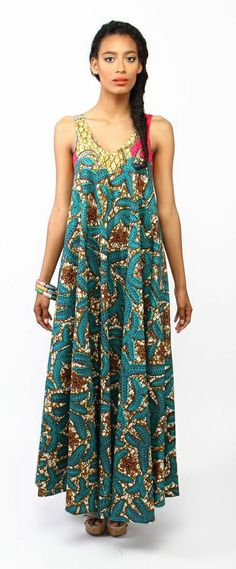 suakoko betty Tent dress in Marine ~ African Style African Attire, African Wear, African Women, African Style, African Print Dresses, African Print Fashion, African Dress, African Inspired Clothing, Tent Dress