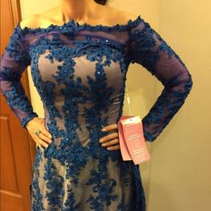 """Stunning lace dress Hey ladies don't miss out on this beautiful dress !! Brand new never worn  in size 4-6 . 62"""" long and waist  16"""" .  Original Price $250 Dresses"""
