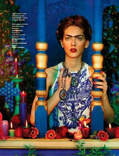 Sandrine & Michael shoot a vibrant editorial inspired by Mexican painter Frida Kahlo..♛    ♛~✿Ophelia Ryan ✿~♛
