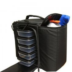 The 6 Pack Fitness Innovator 500 Stealth Black is a new Meal Management lunch box available in 2016, this lunch box is a real winner,  the top compartment is for supplement, there are side insulated compartments and it has a modular shelving system which has an adjustable internal shelving system to accommodate deeper containers
