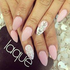 Mermaid pink white almond nail art