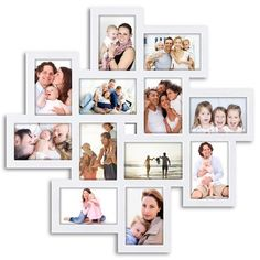 Wall Hanging Photo Frames, Picture Frame Crafts, Hanging Photos, Picture Wall, Frames On Wall, Photo Wall, White Picture, Wall Collage, Cadre Photo