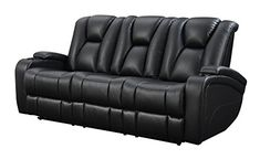 Coaster Home Furnishings  Delange Modern Power Motion Three Seater Sofa with Power Headrest Storage Arms Drop Down Console Power Outlet LED - Black Faux Leather #recliningsofa