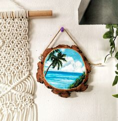Tropical beach sea painting on wood slice. Calm clouds and ocean waves with palm trees and blue sky. Available pieces on my website. Wooden Painting, Acrylic Paint On Wood, Wooden Art, Wooden Decor, Ceramic Painting, Stone Painting, Wood Plank Art, Wood Slice Crafts, Wood Shop Projects