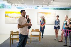 """Visual and Performing Art Professor Nick Pena gives a talk for the opening of his exhibit, """"Crosscut"""""""