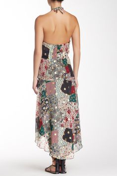 Granny Takes A Trip Patchwork Silk Blend Halter Dress