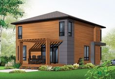 Contemporary Modern Rear Elevation of Plan 76317