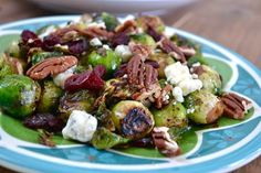 Cranberry Pecan Brussel Sprouts- I put the sprouts, pecans, and cranberries in a bag with olive oil and salt and pepper.  Roasted in oven and added blue cheese. AMAZING!!  My favorite dish of Thanksgiving Day.