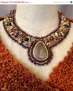 ON SALE Bead Embroidered Collar Autumn Jasper by bjswearableart, $75.00