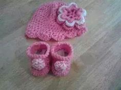 Hat and booties for baby girl my pattern