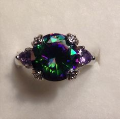 Victorian Mystic Topaz Sterling Silver Rose Cut Cocktail Ring Sizes 6-11 Gift Box Included