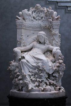 Louis Sußmann-Hellborn, DAS DORNRÖSCHEN. Romantisme, 1878. Alte Nationalgalerie, Berlin. Marbre.